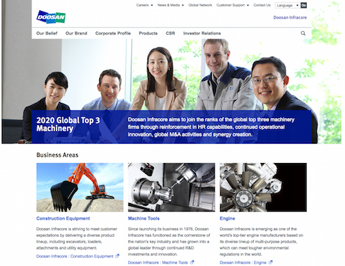 Doosan Infracore Corp., Official Website